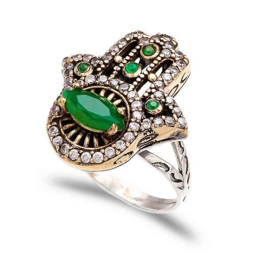 The Jewelled Hamsa Ring - Emerald - Lost Lover - 1