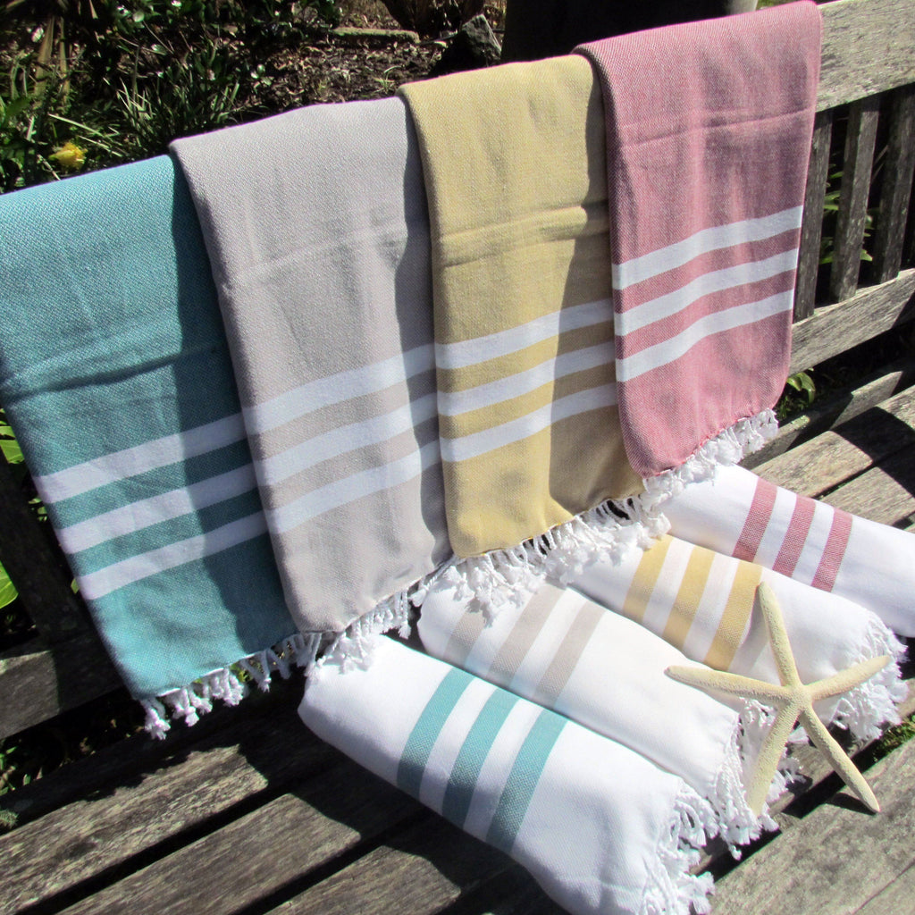 Turkish towel - teal with white stripes - Lost Lover - 4