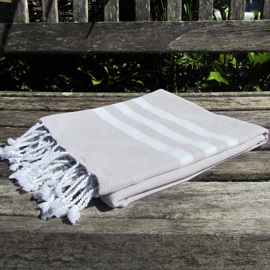 Turkish towel - beige with white stripes - Lost Lover - 2