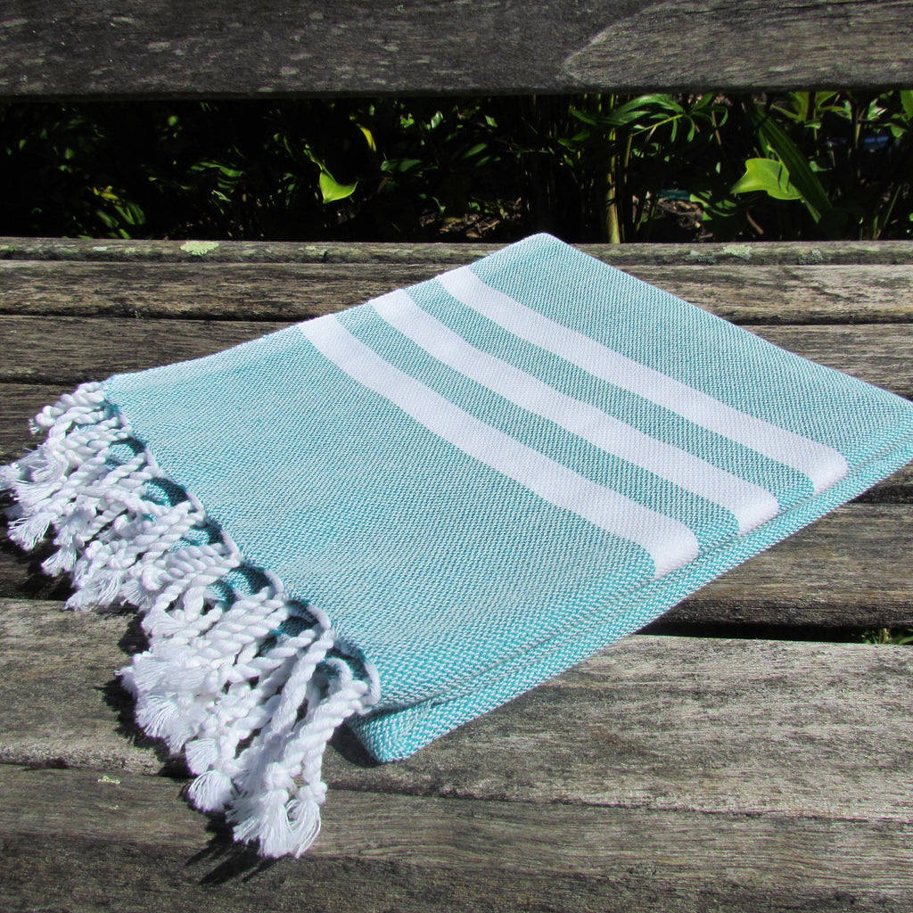 Turkish towel - teal with white stripes - Lost Lover - 2