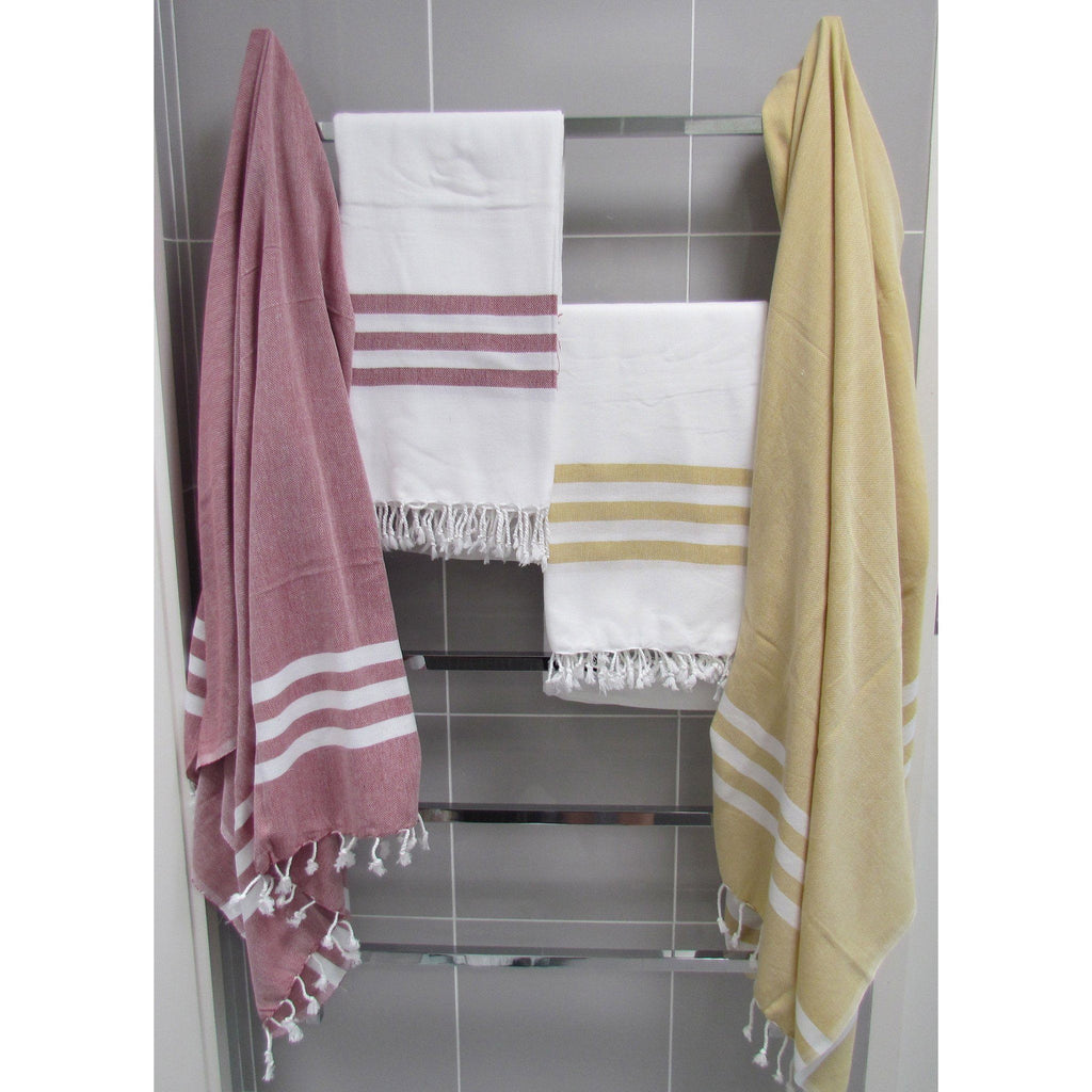 Turkish towel - bordeaux with white stripes - Lost Lover - 4