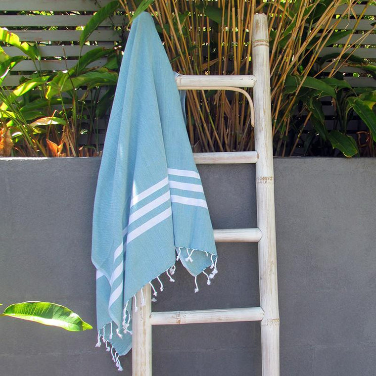 Turkish towel - teal with white stripes - Lost Lover - 1