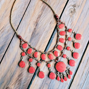 Tribal red stone necklace