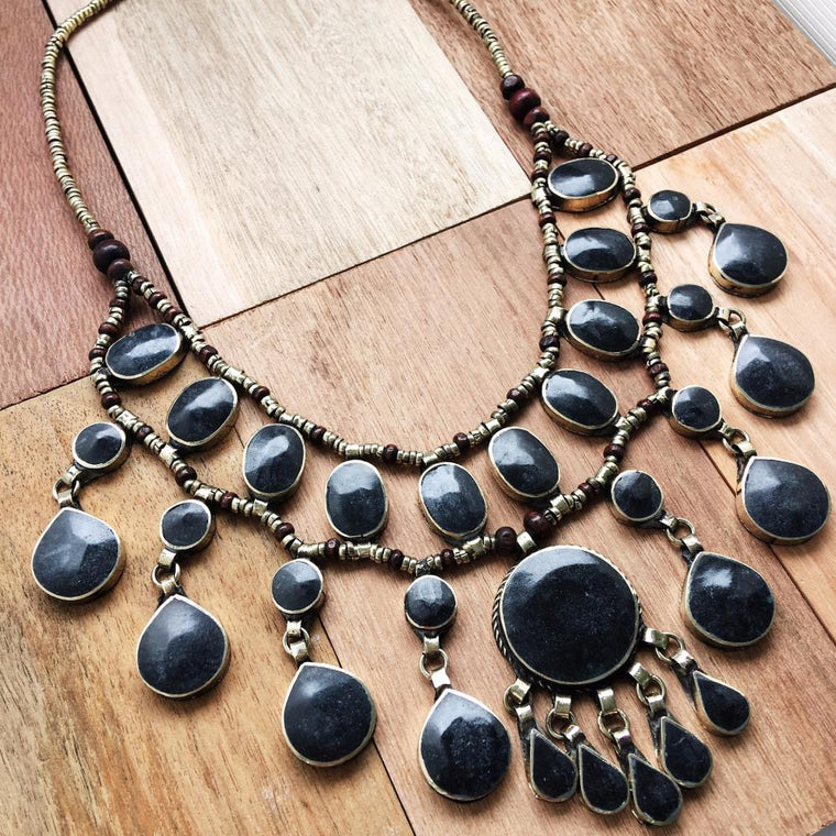 Tribal black stone necklace - Lost Lover - 1