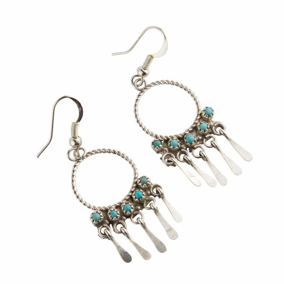 Turquoise Rain Navajo Earrings - Lost Lover