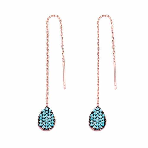 Turquoise Teardrop Thread Earrings - Lost Lover