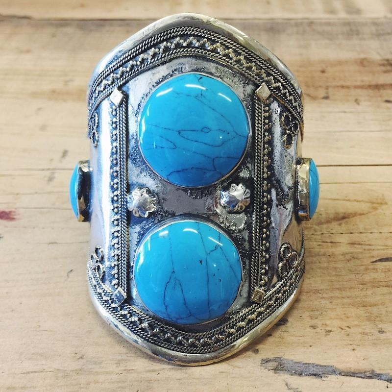 Turquoise double stone tribal cuff - Lost Lover - 2