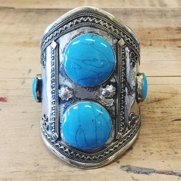 Turquoise double stone tribal cuff - Lost Lover - 1