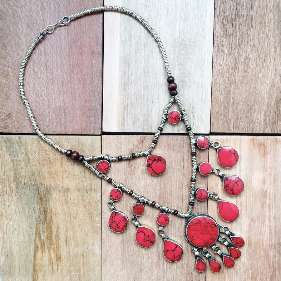 Two Tier Tribal Coral Stone Necklace - Necklace - Lost Lover