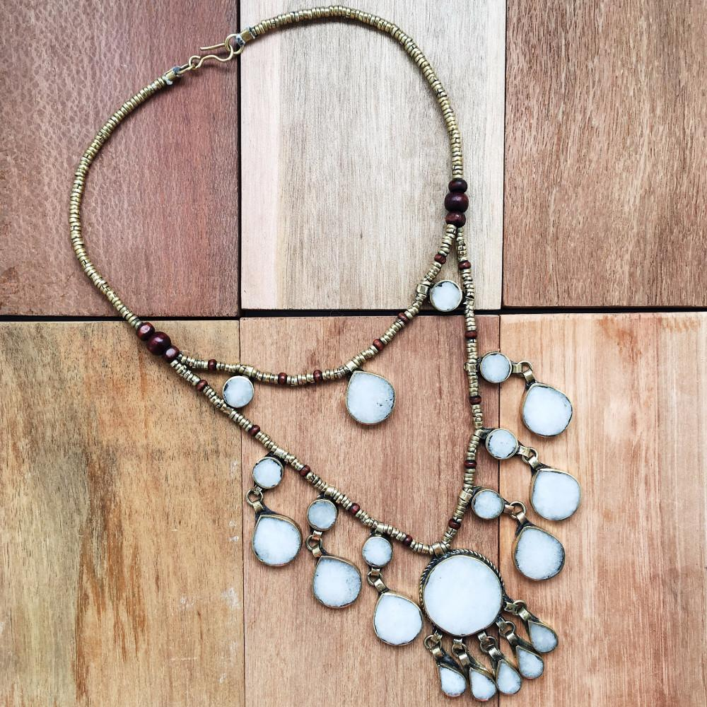 Two Tier Tribal grey stone necklace - Lost Lover - 4