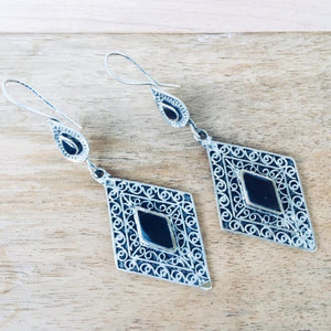 Diamond tribal earrings - Black - Earrings - Bohemian Jewellery and Homewares - Lost Lover