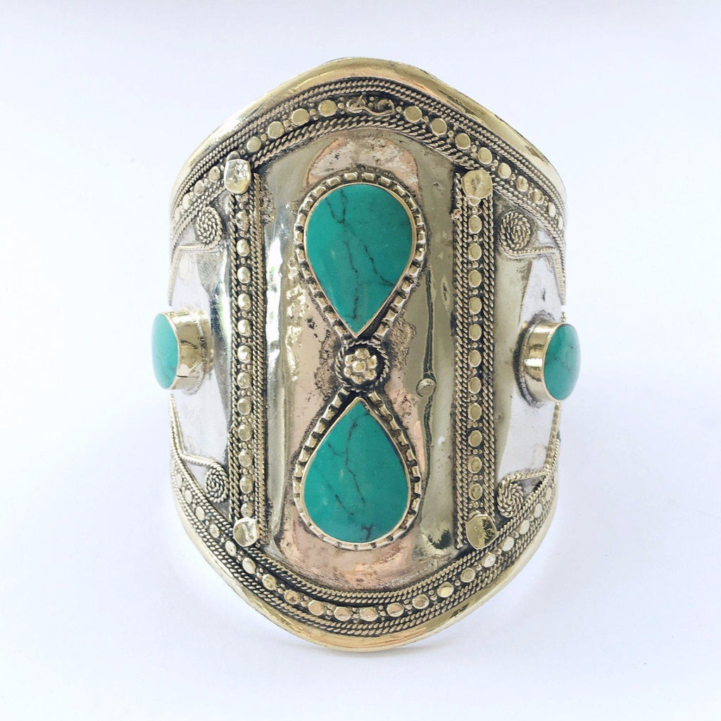 Green stone double teardrop tribal cuff - Lost Lover - 3