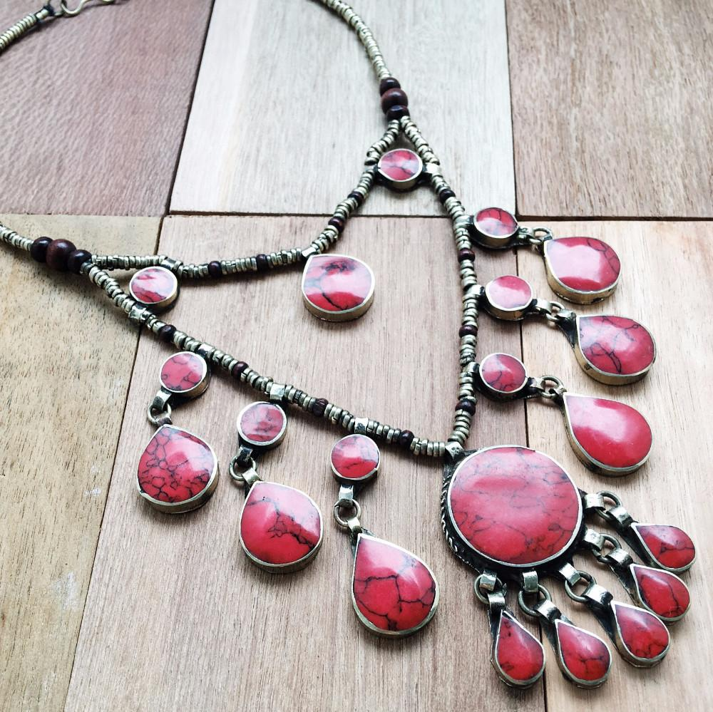 Two tier tribal coral stone necklace - Lost Lover - 1