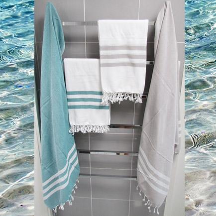 Turkish towel - teal with white stripes - Lost Lover - 5