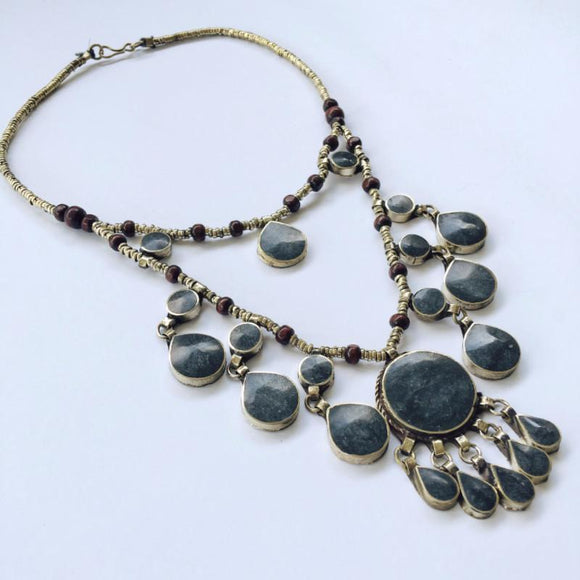Two Tier Tribal black stone necklace - Lost Lover - 1