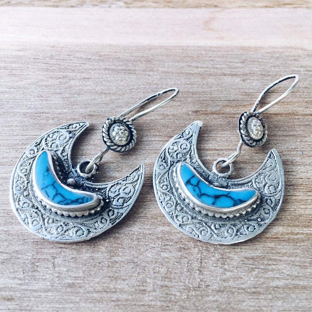 Crescent tribal earrings - Turquoise - Lost Lover - 2