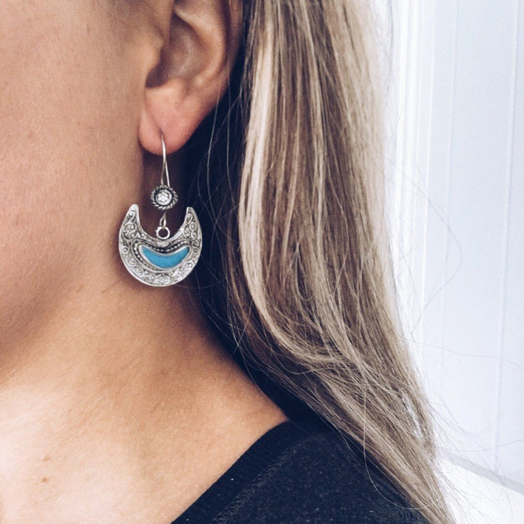 Crescent tribal earrings - Turquoise - Lost Lover - 1