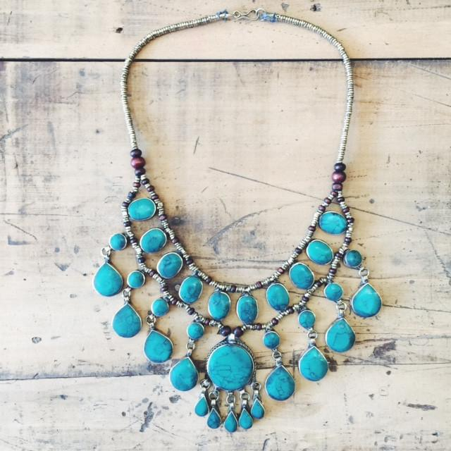 Tribal green stone necklace - Lost Lover - 1