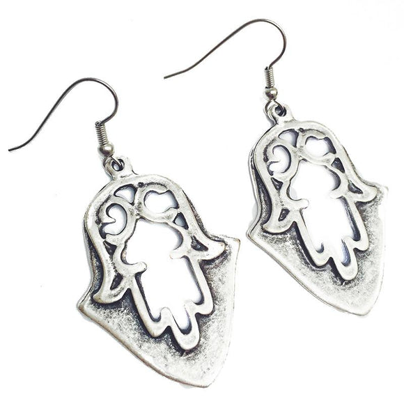 "Anatolian Earrings - ""Hamsa Shield"" - Lost Lover"