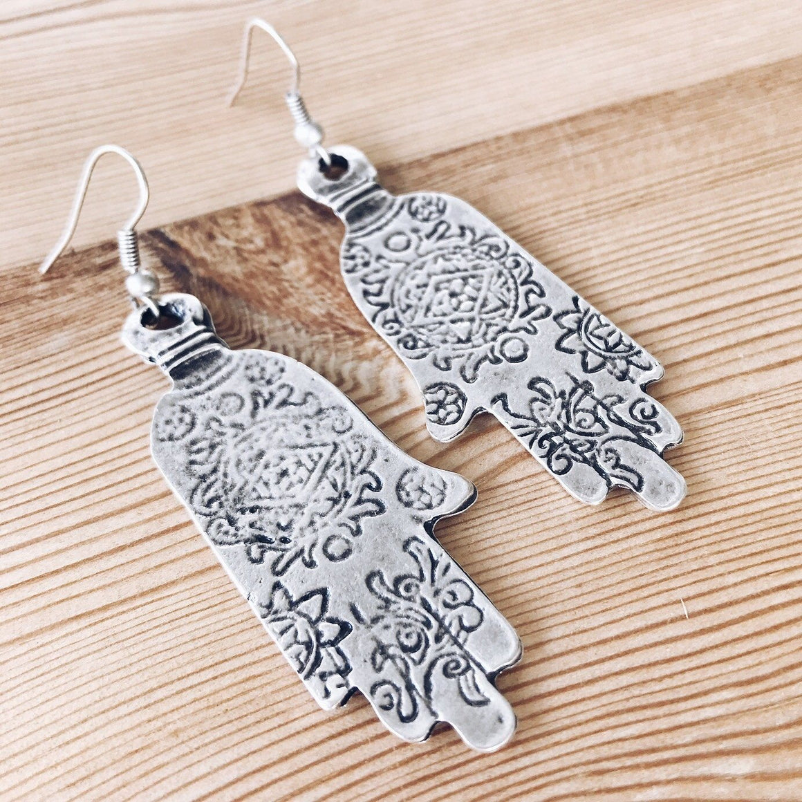 "Anatolian Earrings - ""Ornate Hamsa"""