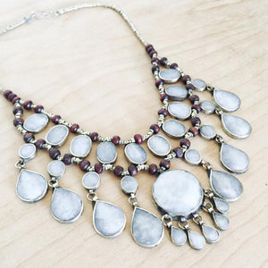 Tribal grey stone necklace - Necklace - Bohemian Jewellery and Homewares - Lost Lover