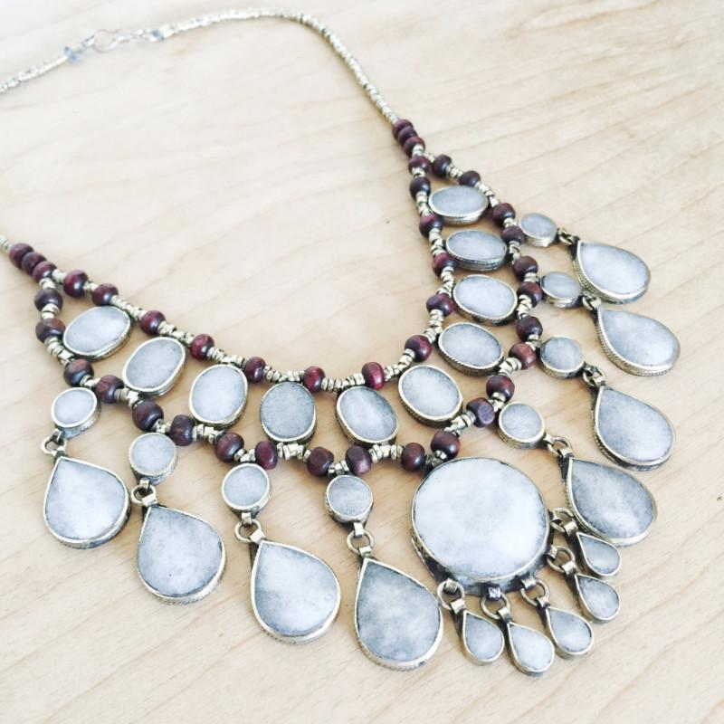 Tribal Grey Stone Necklace - Necklace - Lost Lover