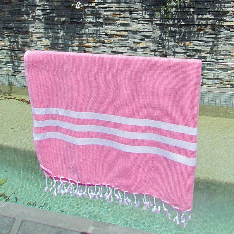 Turkish towel - fuchsia with white stripes - Lost Lover - 3