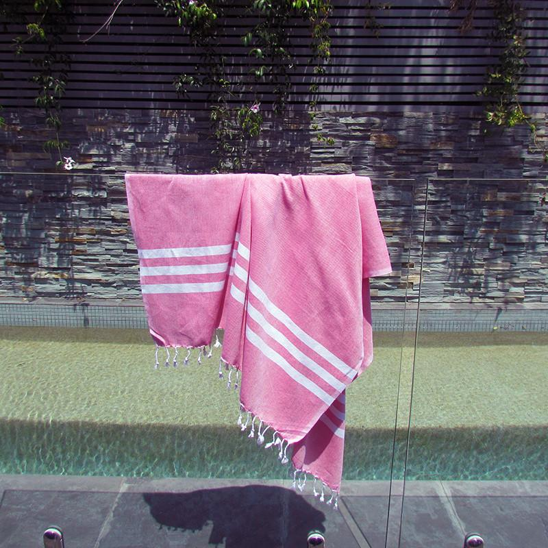 Turkish towel - fuchsia with white stripes - Lost Lover - 2