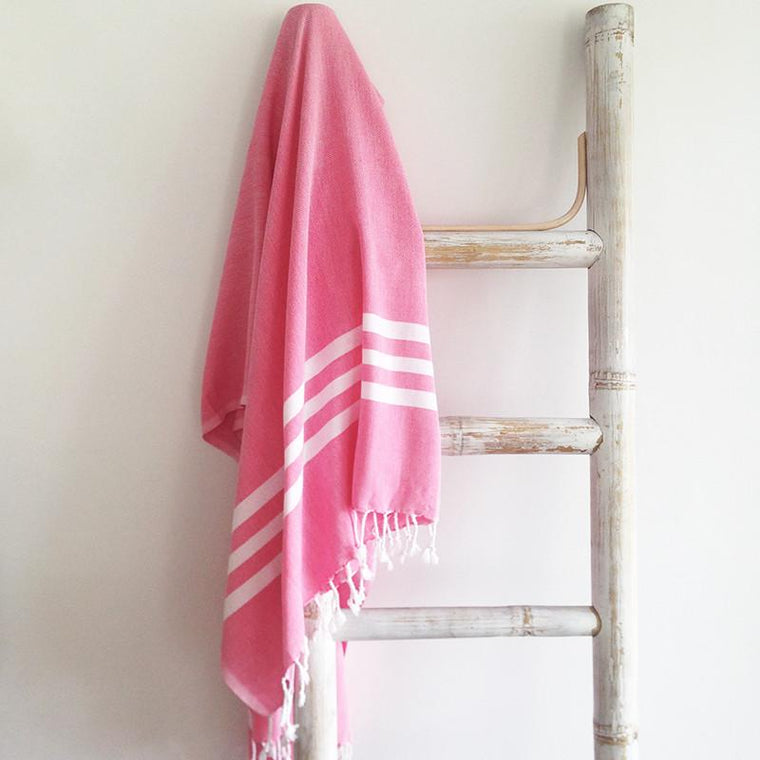 Turkish towel - fuchsia with white stripes - Lost Lover - 1