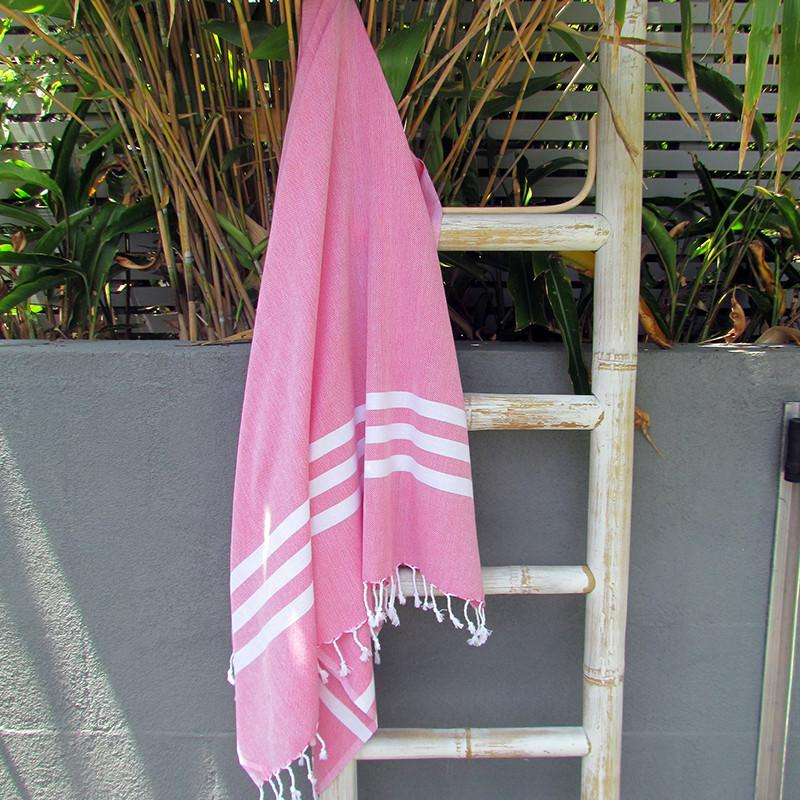 Turkish towel - fuchsia with white stripes - Lost Lover - 4