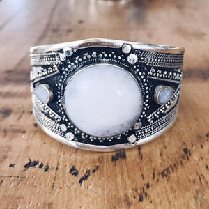 White Howtlite Tribal Cuff - Small - Bracelet - Lost Lover
