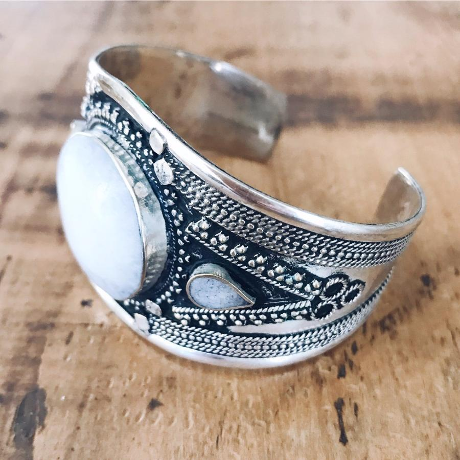 White howtlite tribal cuff - Small - Bracelet - Bohemian Jewellery and Homewares - Lost Lover