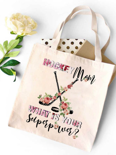Hockey Mom Canvas Tote Bag