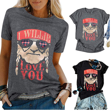 I Willie Love You Gray Black Tee