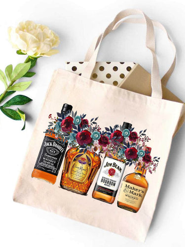 Whiskey Bottles Canvas Tote Bag
