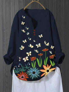 Flower Butterfly Button T-Shirts