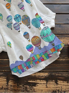 [PRE-SALE] Cartoon Hot Air Balloon Lantern Sleeve T-Shirts