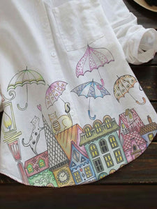 [PRE-SALE] Cartoon Umbrella Castle Pocket Button T-Shirts