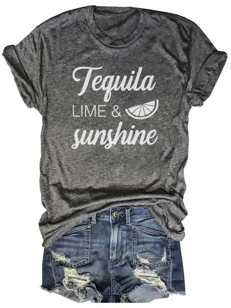 Tequila Lime & Sunshine Novelty Gray Tee