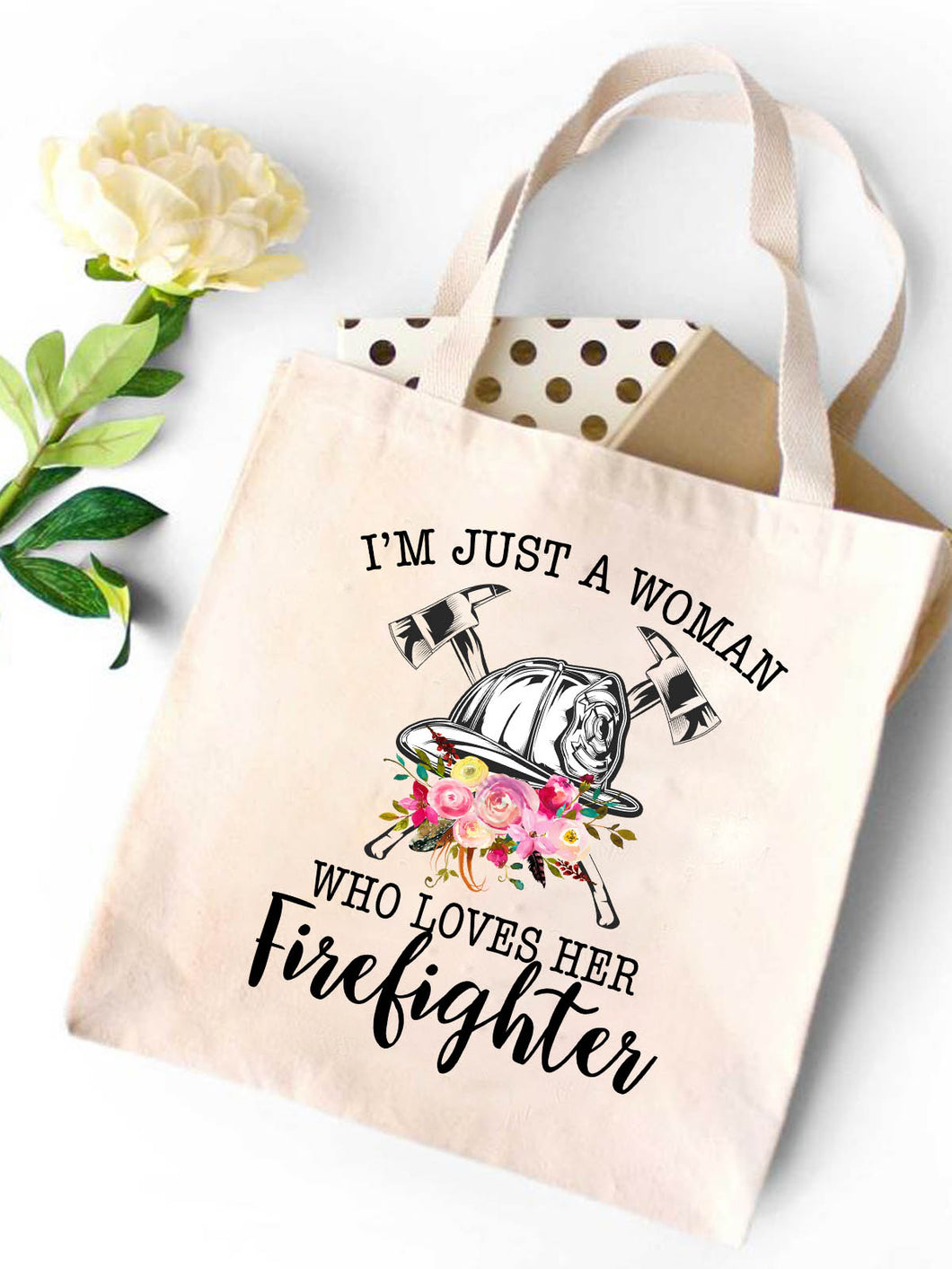 Woman Loves Firelighter Canvas Tote Bag