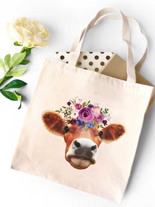 Flower Cattle Canvas Tote Bag