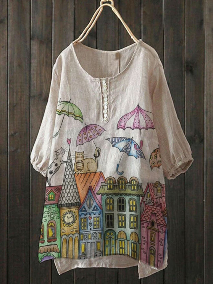 Cartoon Umbrella Castle Button T-Shirts