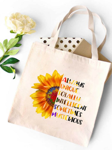 Sunflower Letters Canvas Tote Bag