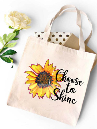 Shining Sunflower Canvas Tote Bag