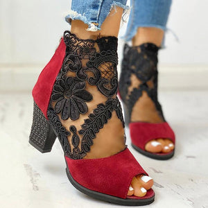 Lace Mesh Insert Chunky Heeled Boots - Shop Shiningbabe - Womens Fashion Online Shopping Offering Huge Discounts on Shoes - Heels, Sandals, Boots, Slippers; Clothing - Tops, Dresses, Jumpsuits, and More.