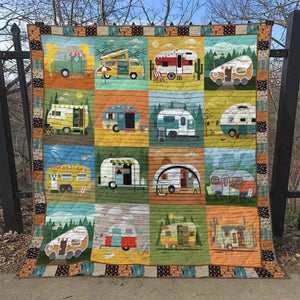 Happy Campers Comic Style Blanket Quilt