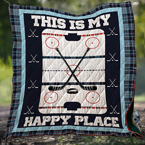 Hockey Happy Place Blanket Quilt