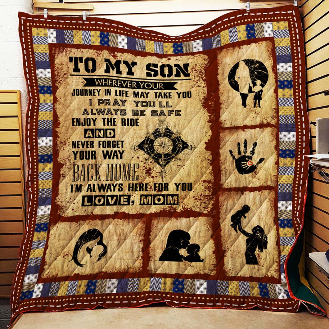 To My Son Mom Blanket Quilt