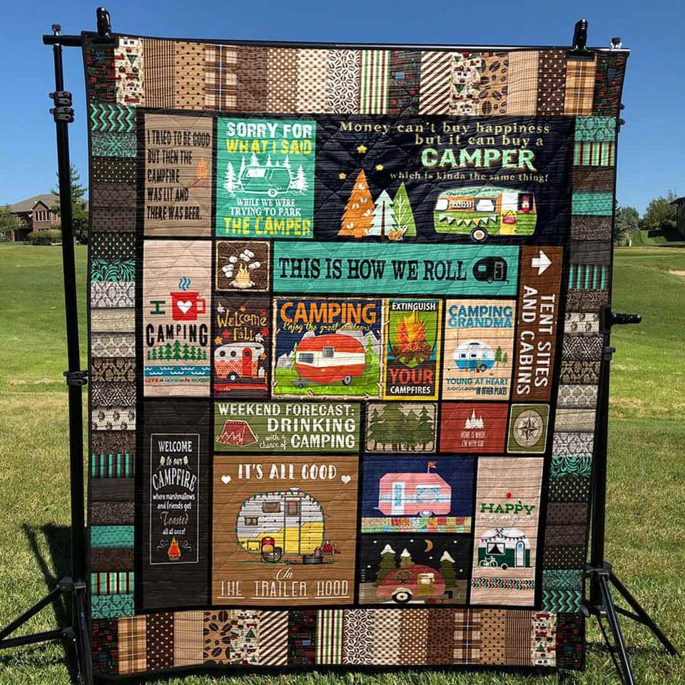 This Is How We Roll Camping Blanket Quilt Brown