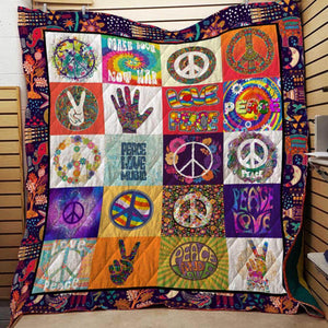 Love Peace Music Hippie Blanket Quilt